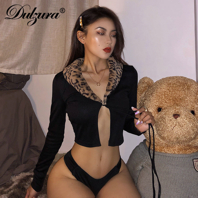 Dulzura Cardigan Knitted Ribbed Leopard Fur Collar Women Crop Top Bandage Sexy Long Sleeve 2019 Autumn Winter Clothes Streetwear