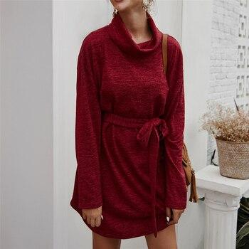 Vestido casual suelto básico de otoño para mujer, vestidos hasta la rodilla con cuello de tortuga, Vestido de manga larga con fajas, vestidos interiores sólidos de Invierno para mujer