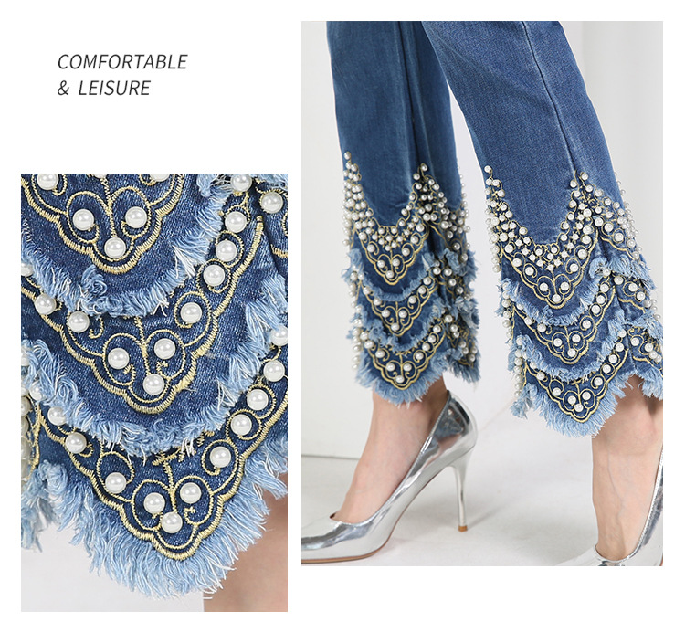 KSTUN FERZIGE Jeans for Women high waist blue elasticity flare pants embroidered beads luxury sexy female trousers brand jeans mujer 16