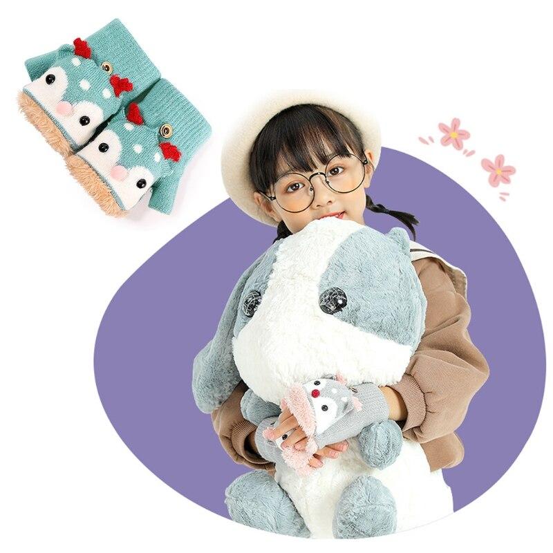 Toddler Kids Winter Knitted Convertible Gloves Christmas Cartoon Reindeer Warm Plush Lined Flip Top Fingerless Mittens