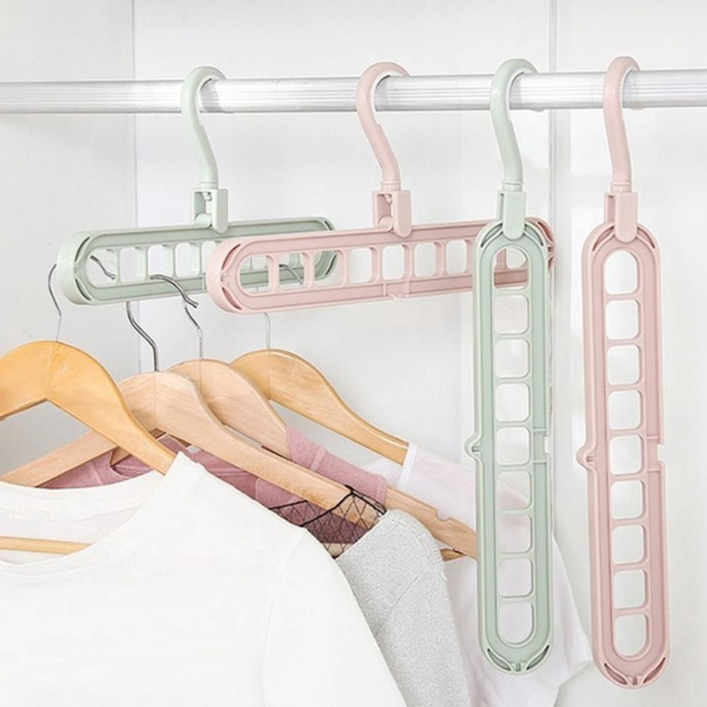 Anti-slip 9-hole Clothes Pants Scarf Hanger Drying Rack Hook Wardrobe Organizer Keep Your Closet Organized Is Smart Hanging Rack