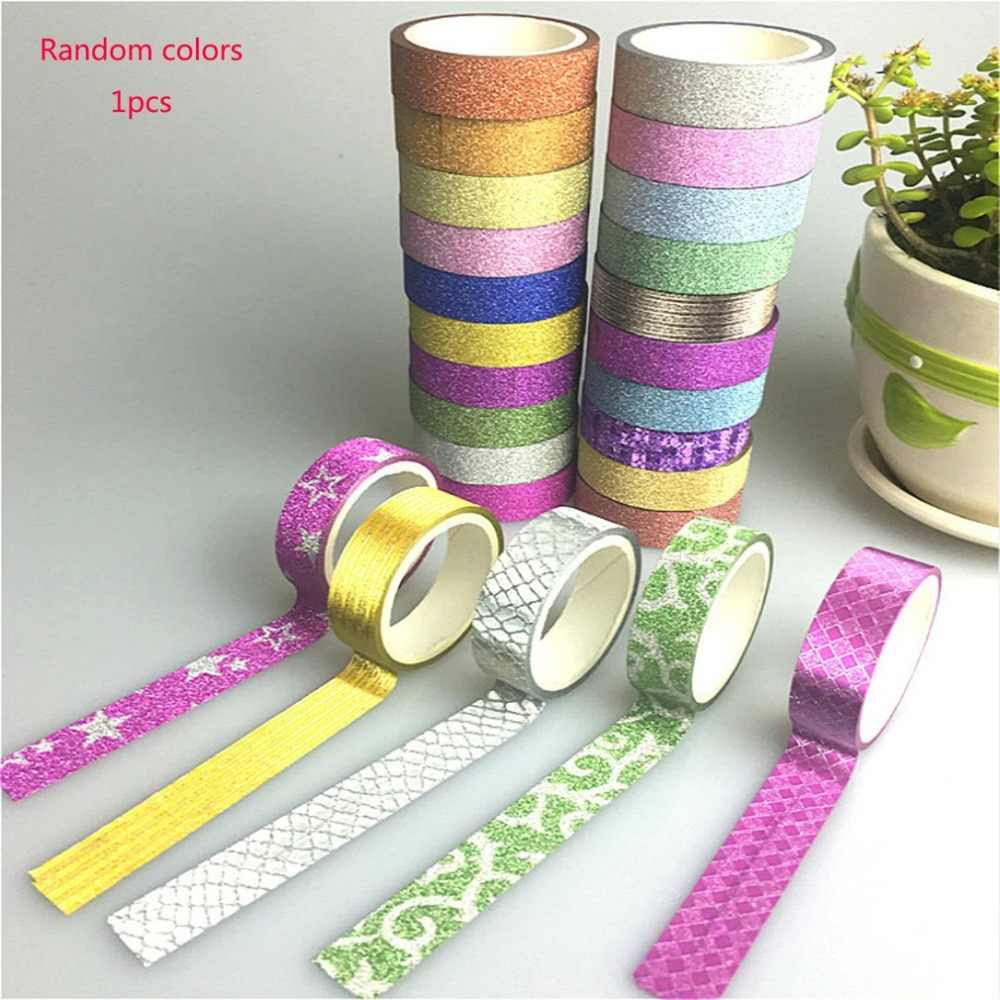 Glitter Washi Sticky Paper Masking Adhesive Tape Label DIY Craft Decorative DIY Scrapbooking Tape Supplies