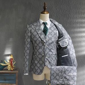 Ternos Masculino Suit Men Leisure Business Formal Dress Trend Print Bridegroom Wedding Dress British Style Smoking Homme Mariage