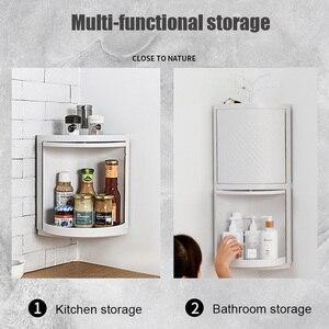 Image 4 - MICCK New Plastic 360 Rotating Bathroom Kitchen Storage Rack Organizer Shower Shelf Kitchen Tray Holder Washing Shower Organizer