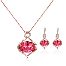 цена на European and American fashion simple polychrome oval crystal earrings necklace set alloy plating glass jewelry set jewelry sets