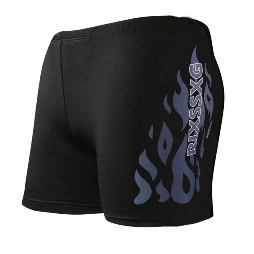 Vlam Patroon Mannen Mannelijke Badmode Shorts Badpak Trunks Zwemmen Blauw Strand Dragen Slips Badpak Beachwear # YL5