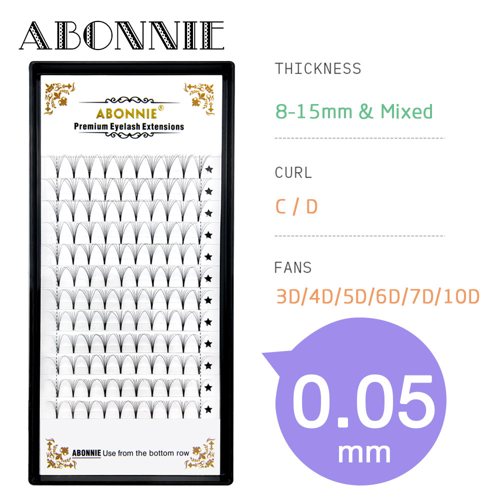 Abonnie Premade Lash Fans 0.05 3d/4d/5d/6d/7d/10d Short Stem Russian Volume Eyelash Extension Pre Made Volume Lashes Faux Mink