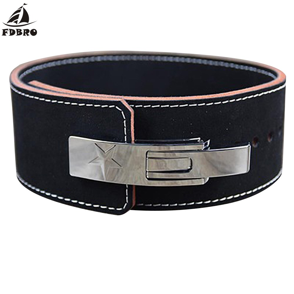 FDBRO 2019 Bodybuilding Weight Lifting Belt Leather Men Lumbar Protection Gym Fitness Training Squats Powerlifting Back Belt