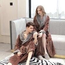 Coral Fleece Women Bathrobe Couple Winter Warm Kimono Sleepwear Thicken V Neck Toweled Nightgown Homewear халат