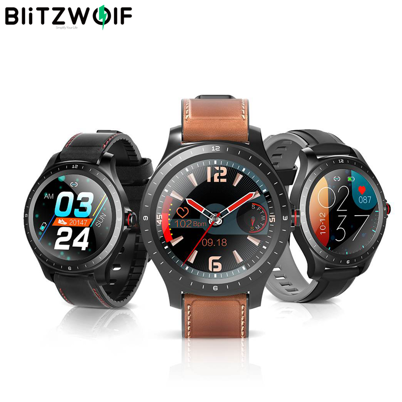 BlitzWolf BW-HL2 1.3-inch Full-round Touch Screen Heart Rate Blood Pressure Monitor Brightness Control 50 Language Smart Watch