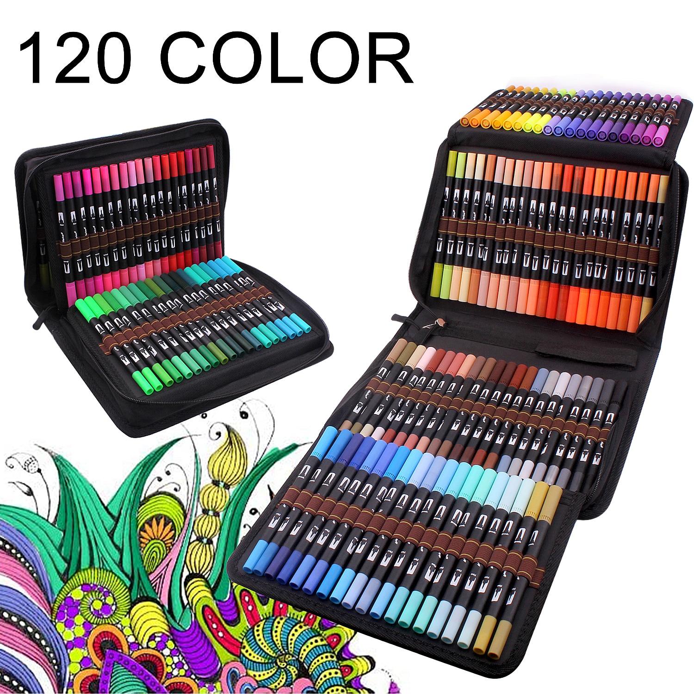 Набор художественных ручек 12-120 цветов, тонкий наконечник и гибкая кисть, маркеры на водной основе для каллиграфии для взрослых