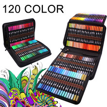 12-120 Colors Art Pens Set, Fine Tip & Flexible Brush Pen Tip, Water Based Markers for Adult Coloring Calligraphy