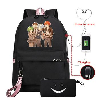 2 sztuk zabójstwo klasie modny plecak + piórniki tornister Bookbag kobiety mężczyźni USB podróżna na ramię torby na Laptop tanie i dobre opinie POLIESTER CN (pochodzenie) Anime Printing Unisex Miękka osłona 20-35 litrów Otwór na wyjście miękki uchwyt Plecaki