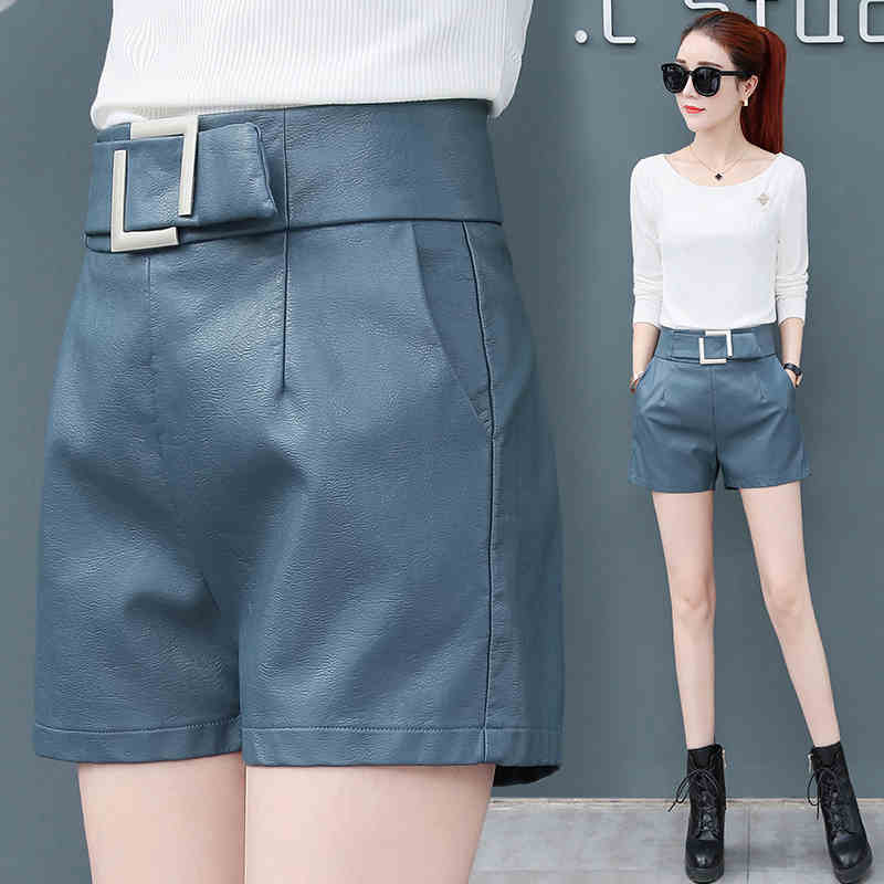 2020 Spring New High Waist Leather Shorts Women Were Thin Leather Pants XF112