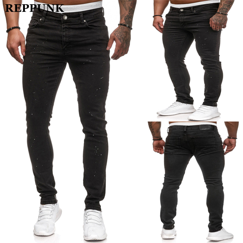 REPPUNK 2020 New Streetwear Slim Men's Painted Black Pleated Biker Jeans For Motorcycle Male Skinny Stretch Denim Pants