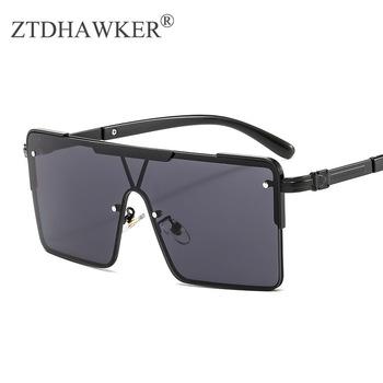 Nowe mody metalowej ramie duże okulary przeciwsłoneczne popularne czoło temperamentu mężczyzn i kobiet okulary tanie i dobre opinie ZTDHAWKER WOMEN SQUARE Dla dorosłych Stop Lustro Antyrefleksyjną UV400 53mm Poliwęglan 71mm