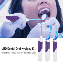 Whitening-Tool Stain-Eraser Dental-Mirror Plaque-Remover Tooth LED 3pcs Oral-Hygiene-Kit