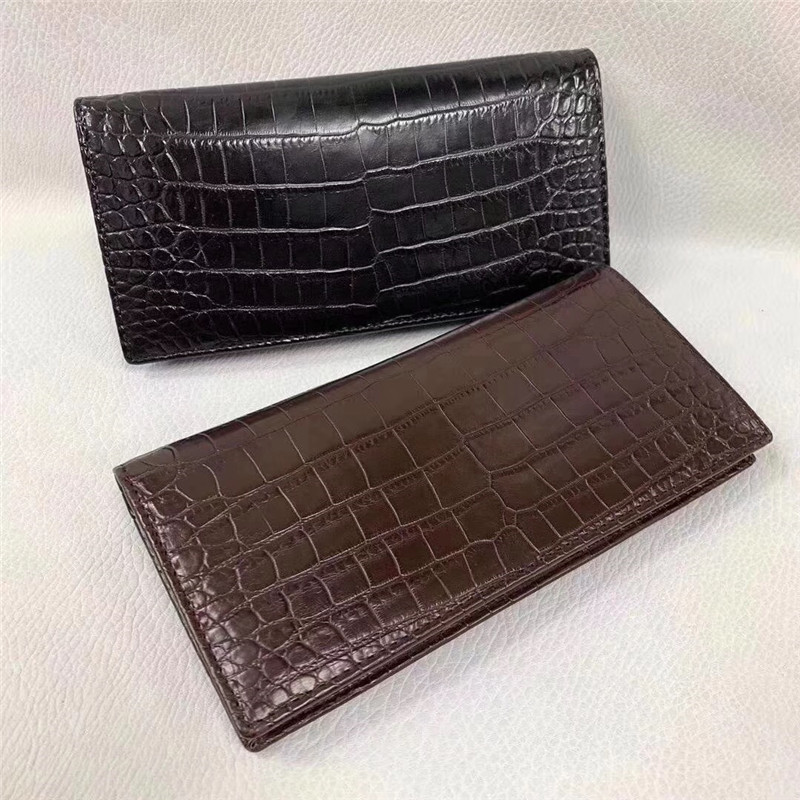 One-piece Genuine Crocodile Belly Skin Businessmen Suits Clutch Wallet Authentic Alligator Leather Lining Male Long Card Purse