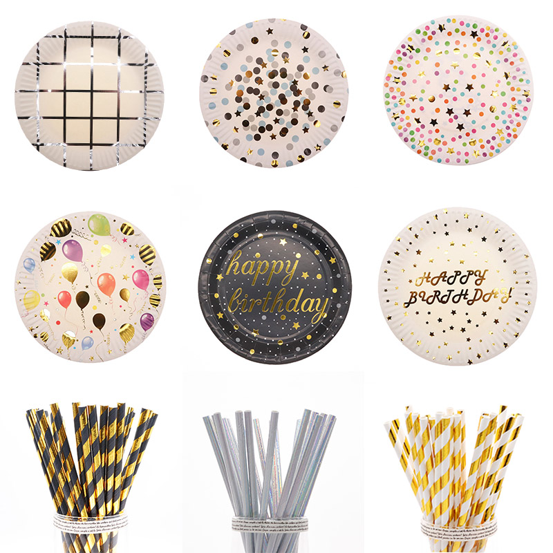 Birthday Wedding Party Tableware Decoration Supplies Straw Cup Plate Paper Towel Balloon Baby Shower Bronzing Multicolor