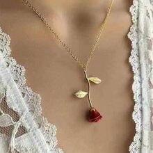 Europeu e americano nova jóia criativa gota rosa vermelha pingente colar para presente do dia dos namorados
