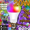 Умная Светодиодная лампа E27 B22 с изменением цвета, приглушаемый волшебный светильник RGBW с Wi-Fi, ИК светильник Том дистанционного управления, ...