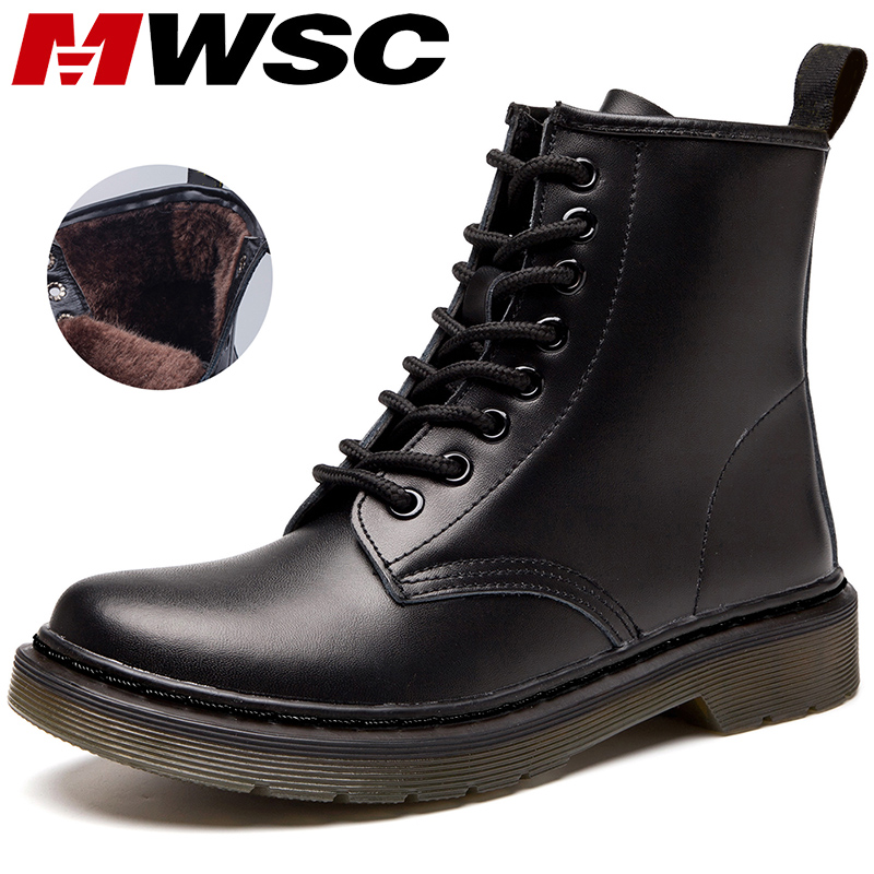 MWSC Marten Boots For Women Ladies Genuine Leather Ankle Boots Shoes Winter Fur Lining Boots Female Motorcycle Shoes Women