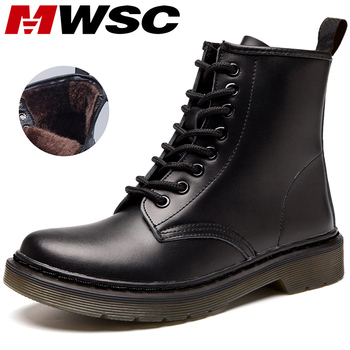 MWSC Marten Boots For Women Ladies Genuine Leather Ankle Boots Shoes Winter Fur Lining Boots Female Motorcycle Shoes Women allbitefo natural genuine leather snake texture cow leather women ankle boots fashion sexy motorcycle boots girls winter shoes