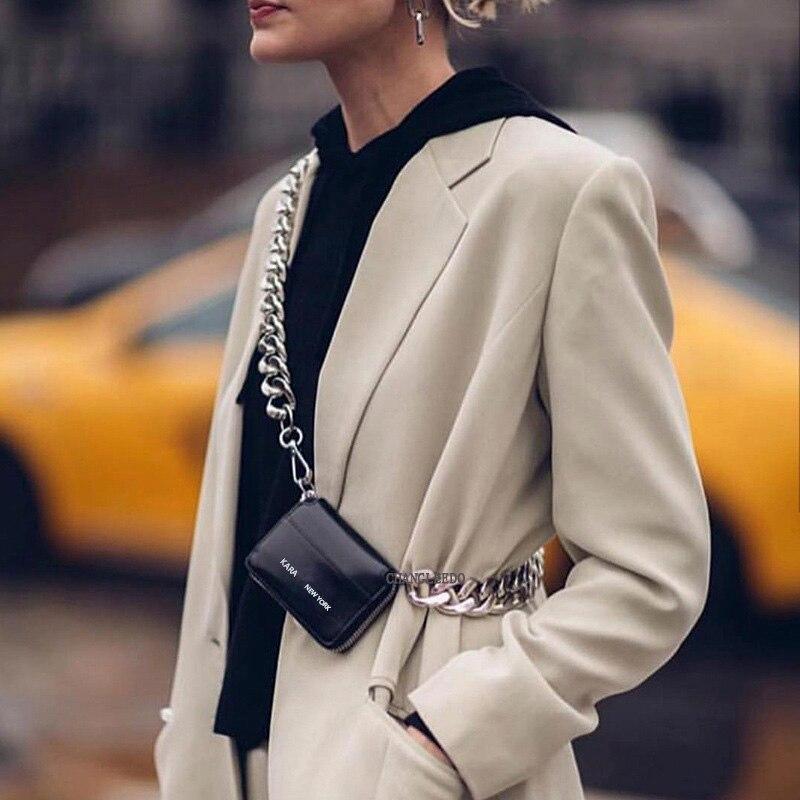 Роскошная женская сумка ins, модный стиль, толстая металлическая цепочка, сумка на плечо, велосипедный кошелек, мини сумка, кошелек для монет, модный нагрудный пакет, ремень, клатч