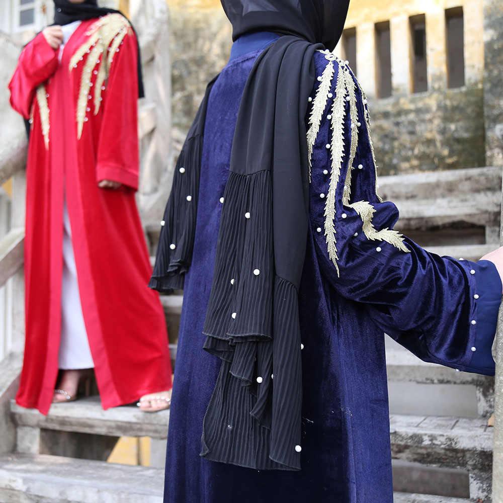 ヒジャーブイスラム教のドレス女性ベルベットアバヤ着物 Terciopelo Mujer ドバイカーディガンサウジアラビアトルコイスラム服のカフタンカフタン Niqab
