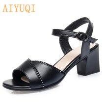 AIYUQI натуральная кожа женщины сандалии 2020 лета Новая мода открытым носком дамы середины пятки горный хрусталь платье