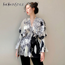 TWOTWINSTYLE Elegant Women Shirt V Neck Flare Long Sleeve High Wiast Pleated Blouses For Female Clothes Fashion 2020 Summer Tide