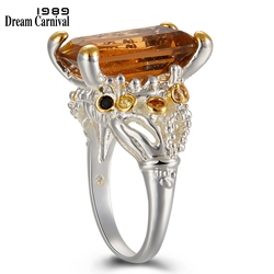 DreamCarnival1989 Solitaire Crown Look Wedding Rings for Women Two Tones Colors Dazzling Brown Zirconia  Factory Direct WA11715
