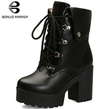 BONJOMARISA Big Size 34-43 New Fashion Lace Up Lady High Chunky Heels Boots Women Elegant Black Ankle Boots Party Ol Shoes Women(China)