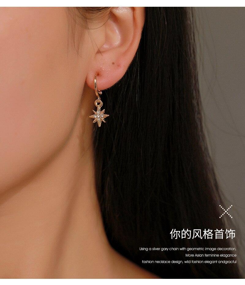 2020 new fashion star drop earrings for women crystal gold color moon star dangle earrings jewelry hip hop girls gift