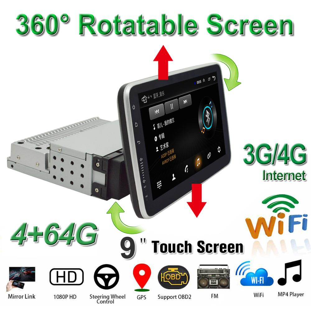Universal 9 Inch Car DVD Player 1Din Android 8.1 Multimedia GPS BT OBD2 WiFi With 360 Up/Down Degree Rotatable Screen MP5 Player