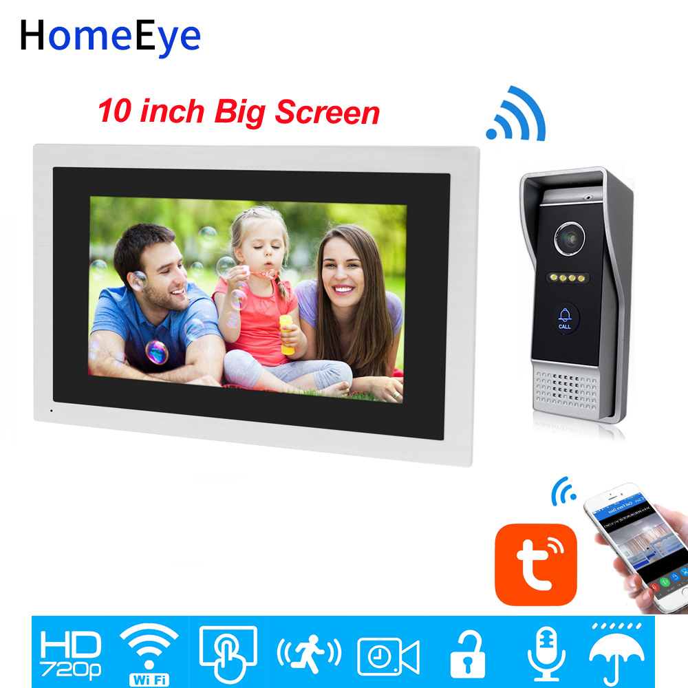 TuyaSmart APP Remote Unlock 720P HD WiFi IP Video Door Phone Video Intercom Home Access Control System 10inch Big Touch Screen