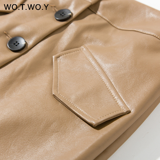 WOTWOY Elengant High Waist Leather Penci Skirt Women Multi Button Wrapped Skirts Mujer Faldas Solid Pockets Femme Jupes New 2020 5