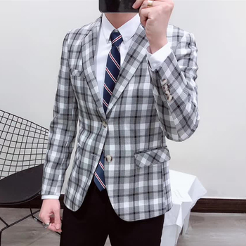 Plaid Mens Blazer Grey Pattern Blazer Masculino Unique Party Blazer Homme Men Sport Coat Terno Masculino Slim Fit Check Blazer
