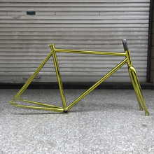 Piñón fijo Marco de bicicleta chapado en oro vintage bicicleta fixe Marco de bicicleta 52cm Marco de bicicleta de marcha única acero con horquilla