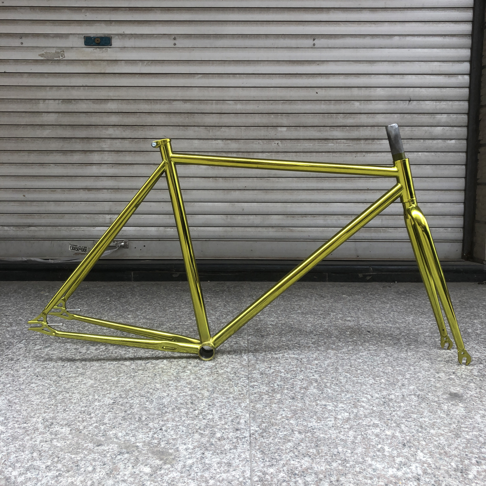 fixed gear <font><b>bike</b></font> <font><b>frame</b></font> gold plating vintage bicicleta fixe <font><b>bike</b></font> <font><b>frame</b></font> 52cm single speed bicycle <font><b>frame</b></font> <font><b>steel</b></font> with fork image