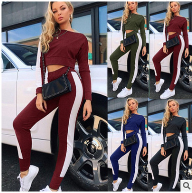 Striped 2020 New Design Fashion Hot Sale Suit Set Women Tracksuit Two-piece Style Outfit Sweatshirt Sport Wear