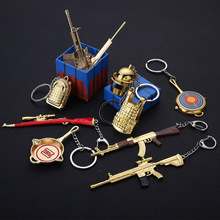 PUBG Keychain game eat chicken weapon Backpack Pan Alloy Model Key Chain llaveros 98K AWM Mini Helmet Pendant gift ring