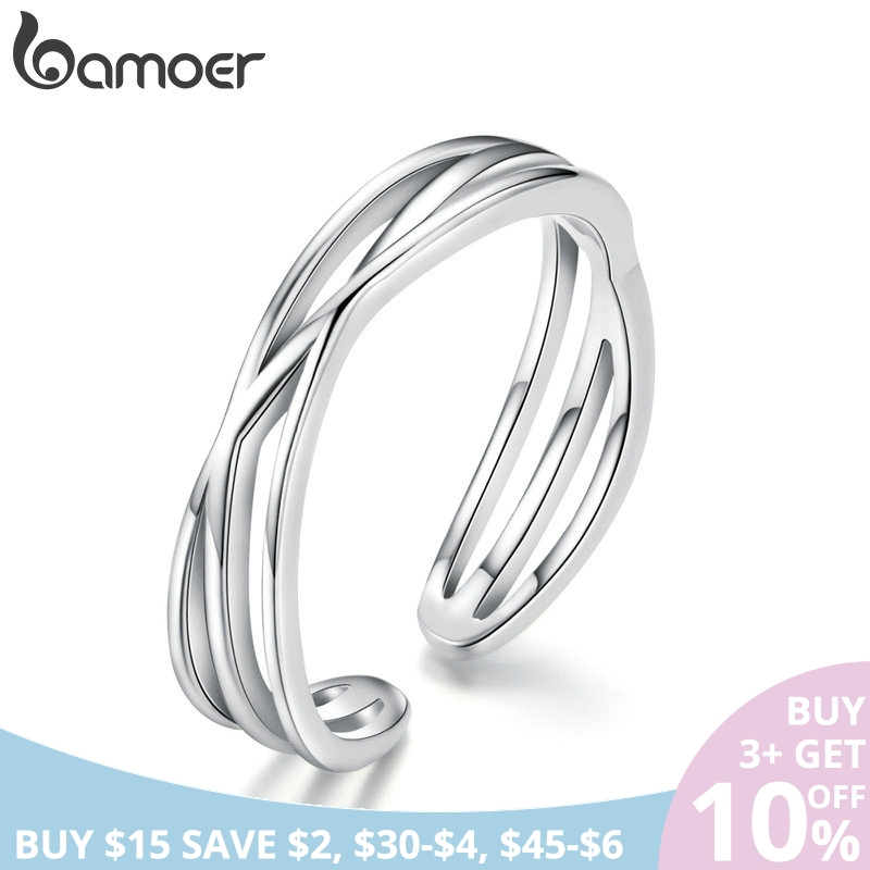 BAMOER Authentic 925 Sterling Silver Geometric Twisted Wave Open Size Finger Rings Women Wedding Engagement Jewelry SCR483