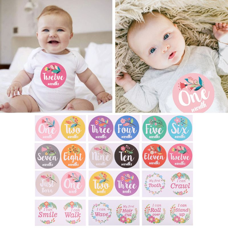 First Year Baby Monthly Milestone Photo Sharing Baby Belly Stickers Birth To 12 Months And 8 Bonus Achievement Stickers