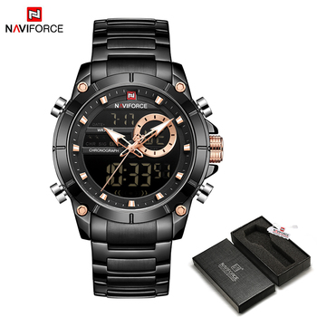 NAVIFORCE Men Military Sport Wrist Watch Gold Quartz Steel Waterproof Dual Display Male Clock Watches Relogio Masculino 9163 13