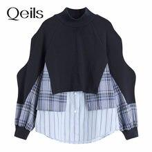 Qeils retalhos solto irregular emendado listrado camisola nova gola alta manga longa feminina tamanho grande moda primavera outono 2021