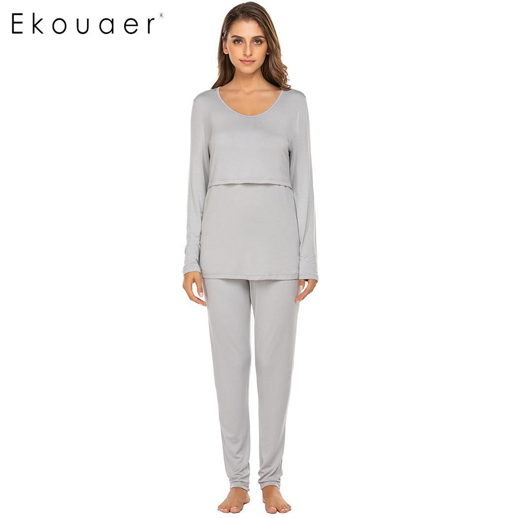 Ekouaer Women Long Johns Thermal Underwear Sets Round Neck Long Sleeve Solid Maternity Nursing Pajama Set Sleepwear