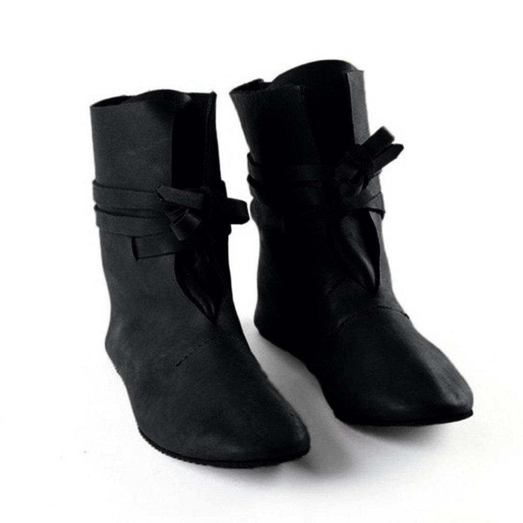 Womens PU Leather Buckle Mid Heel Vintage Cowboy Roma Ankle Boots Shoes Fashion