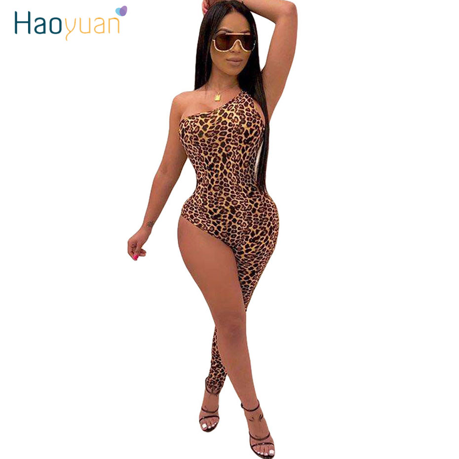 HAOYUAN Leopard Tiger One Legged Jumpsuit Rompers Women Fashion Sexy Overalls Bodysuit Rave Festival Club One Piece Outfits