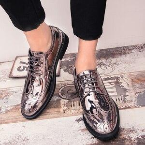 Image 5 - Брендовые Мужские модельные туфли; Золотые блестящие мужские официальные туфли; Мокасины; Итальянская кожа; Роскошные модные свадебные туфли оксфорды; Мужская обувь; 46